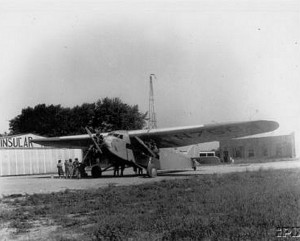 "A Ford Tri-Motor ""Tin Goose"" at Port Clinton's airport in 1952. Image courtesy Ottawa Co. Museum."
